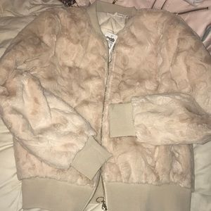 Tan fuzzy Bomber jacket